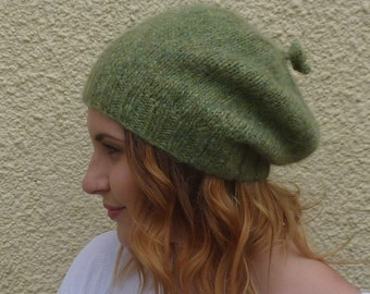 SLOUCH BEANIE . Luxury baby alpaca blend . ' Moss' . UK seller...ready to ship.