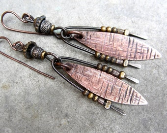Seeds of Ingenuity artisan earrings primitive tribal sculptures boho copper mixed metals industrial urban mobiles jewelry assemblage