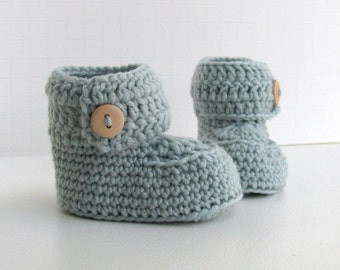 cashmere merino wool short baby booties handmade knitted ugg style button cuff boxed shoes in soft aqua size 0 to 6 months warm and woolly