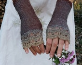 Walnut Grove - Elegant Crochet Fingerless Gloves in taupe brown, grey and beige