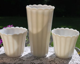 Vintage Milk Glass, Three Piece Ribbed or Paneled Vase Set, Wedding Vase.