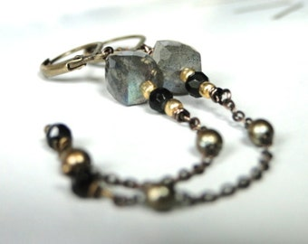 Labradorite Gemstone Earrings / Jewelry / Gift for Her / Accessories / Brass Chain and Gemstone Earrings / Boho Chic / Rustic Earrings