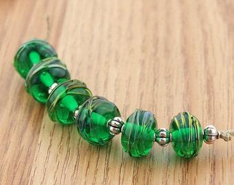 Sheribeads Glass Beads 6 Metallic Wrapped Emerald Rondels Lampwork