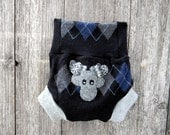 Upcycled Wool Soaker Cover Diaper Cover With Added Doubler Gray/Black/Blue Argyle With Moose Applique LARGE 12-24M Kidsgogreen