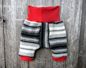 Upcycled Wool Shorties Bloomers Soaker Cover Diaper Cover Black White Gray Stripes/ Red  SMALL 3- 7 M Kidsgogreen
