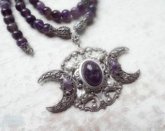Triple Moon Goddess .:.  Amethyst Gemstone Beaded necklace -- ornate aged silver filigree, amethyst gemstone beads