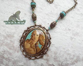 Aphrodite Pontia ~ Art Nouveau Goddess ~ Vintage Brass Porcelain Cameo Necklace ~ Greek mythology