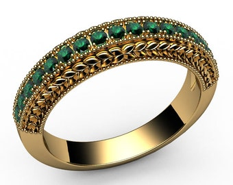 Emerald Wedding Ring 17 Emeralds  0.38 carat 18K White gold or 18K Yellow gold Anniversary gift
