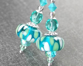 Sea Green Blue Drop Earrings Sterling Silver Leverback Earrings Seafoam Artisan Glass Earrings Teal Dangle Earrings Lampwork Jewelry