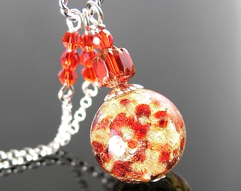Red Murano Glass Necklace Sterling Silver Necklace 24k Gold Foil Red Venetian Glass Necklace Ruby Red Pendant Necklace Red Murano Jewelry