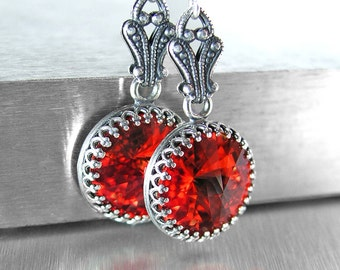 Bright Red Crystal Earrings Vintage Style Antique Silver Earrings Swarovski Crystal Red Drop Earrings Sterling Hooks Victorian Jewelry