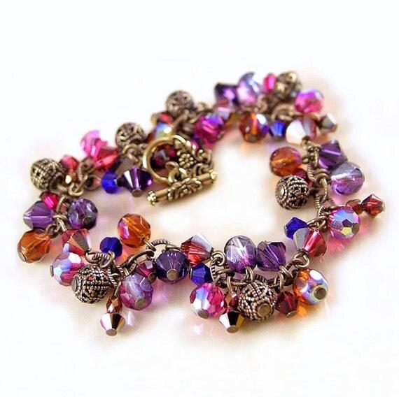 Amber Purple Bracelet  Swarovski Fuchsia Eggplant Amethyst Crystal Cluster Bracelet Antique Gold Bracelet Volcano