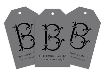 Custom Monogram Gift Tag, Heirloom Personalized Gift Tag for Gifts, Holidays, Weddings and More