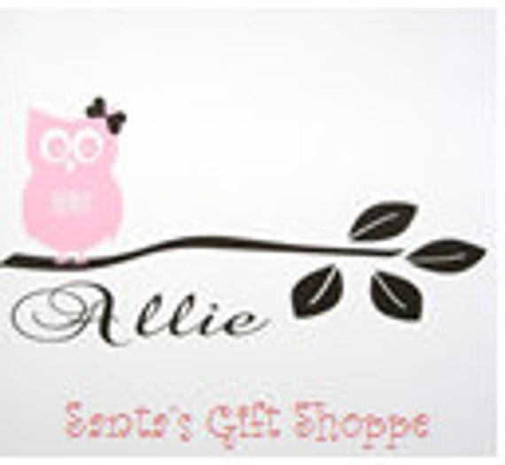Girl Owl Sitting on Branch plus Name - Vinyl Wall Decal - Nursery - Bedroom - Children- Home Decor