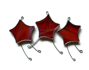 Stained Glass Stars in Red - Set of 3 Suncatchers