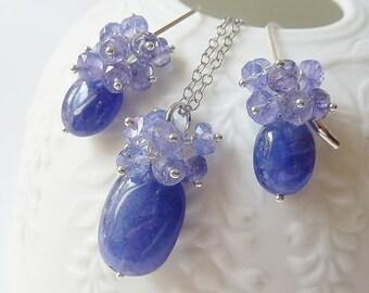 SALE Tanzanite set - earrings & necklace. Tanzanite cluster earrings. Tanzanite necklace. Pendant. December birthstone earrings.  Mother's D