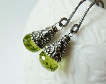 SALE Peridot earrings. August Birthstone earrings. Drop earrings. Artisan silver earrings. Green Peridot silver earrings. Gift for her