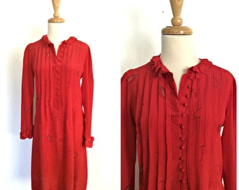 Vintage Red Party Dress - boho dress - 80s dress - Gray Rose - silk dress - knee length - S M