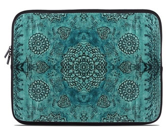 Boho laptop case, boho laptop sleeve, teal bohemian laptop cover, to fit 10, 13, 15, 17 inch