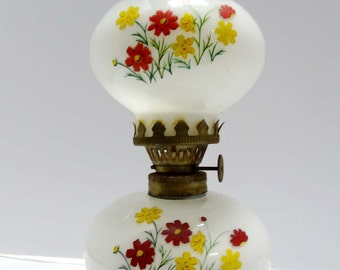 White Art Glass Hurricane Oil Lamp Hand Painted Flowers Home and Garden Lighting Lamps Table Lamps Hurricanes