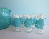 Vintage Turquoise and White Glasses - Mid Century Drinking Glasses