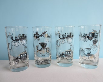 Vintage Glass Tumblers - Libbey Curio Pattern - Vintage Modes of Automobile Transportation - Set of 4