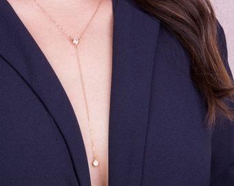Cubic Zirconia Drop Y Lariat Necklace, CZ Lariat Y Necklace,  Dainty Y Necklace, Elegant, Minimal Necklace, Gold Filled Or Sterling Silver