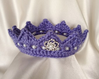 Light Purple Jeweled Crown Newborn Photo Prop Tiara