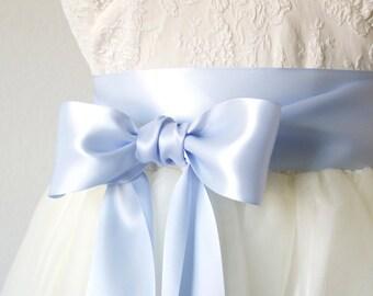 Light Blue Ribbon Sash, Sky Blue Bridal Belt, Double Faced Satin Ribbon Sash, Something Blue, Bridesmaid Sash, 2.25 Inch Wide Ribbon