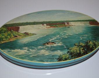 Large oval toffee tin - Niagara Falls - souvenir tin - candy