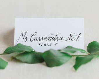 Wedding Calligraphy for Place Card Escort Card, Black Ink Modern Calligraphy - Calligraphy Only, Cards Not Included - Cannon Beach Style