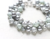 Silver Grey Wedding Bridesmaid Jewelry Pearl Cluster Bracelet - Sterling