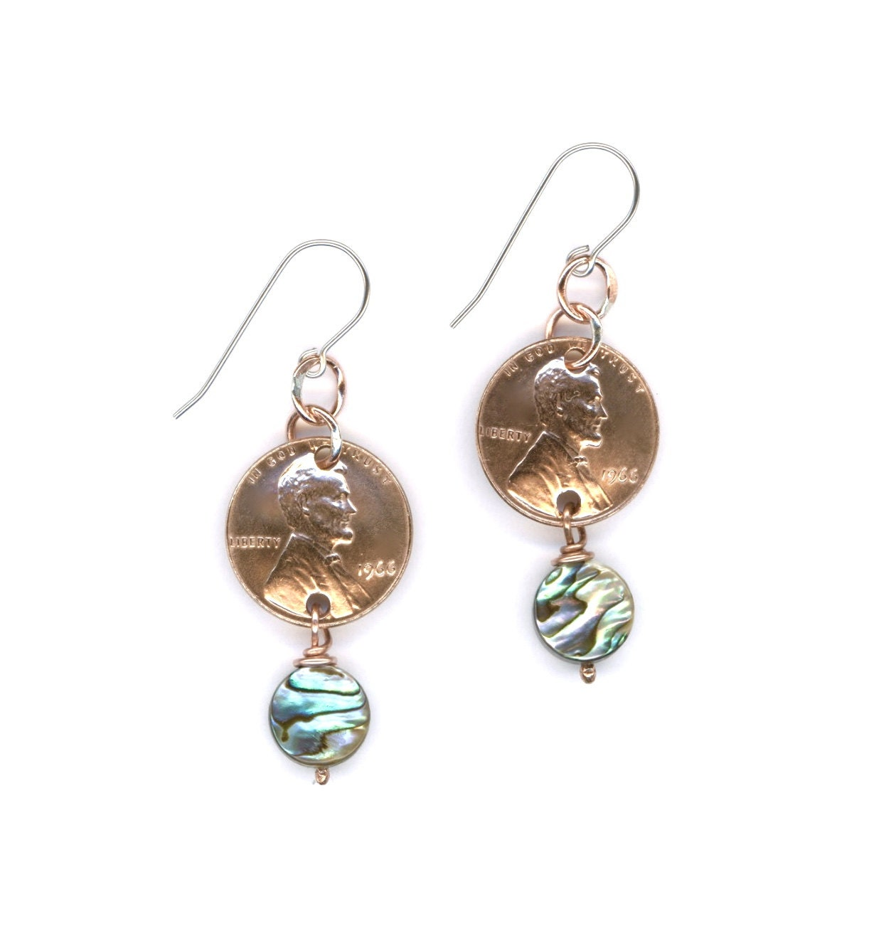 50th Birthday Gift Jewelry 1966 Penny Earrings 50th