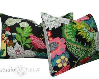 Schumacher Pillow Covers - 16 X 26 -  Chiang Mai Dragon - Set of TWO - Ebony -  black floral - Decorative pillow Cover - Schumacher Pillow