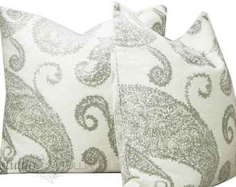 Decorative Pillow Covers - Linen and Silver - SET OF TWO - white linen - paisley design - modern - 20 inch - ready to ship