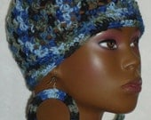 Ready to Ship Twilight Crochet Skullcap Beanie Snug Fit with Earrings by Razonda Lee Razondalee