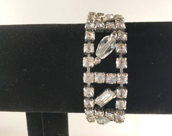 Mid Century Bracelet, Vintage Jewelry, Rhinestone Jewelry, Rhinestone Bracelet, Vintage Bracelet, Crystal Bracelet, Bridal Jewelry