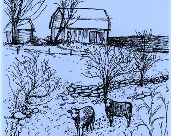 Country Landscape Drawing,Art Print of my original pen drawing,Cows,Barn,Farm Scene,Black on  Blue,Room decor,Hand-signed,Sketchbook art