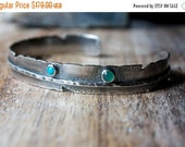 MOVING SALE... Sleeping Beauty Turquoise, Chrysoprase, Sapphire, Sterling Silver Feather Cuff Bracelet... Wild Thing...