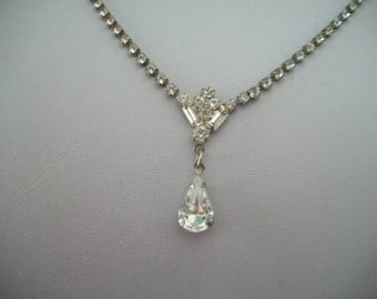 Vintage Rhinestone Y Choker Necklace