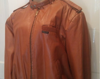 Members Only Leather Racer Motorcycle Jacket. Size 1X