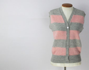 Vintage 50s Pink & Grey Striped Wool Button Up Sweater Vest S/M