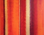 red orange and gold abstract art titled radiance, large abstract art