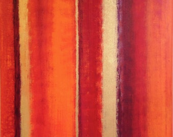 SALE, red orange and gold abstract art titled radiance, large abstract art, gold orange and red abstract painting