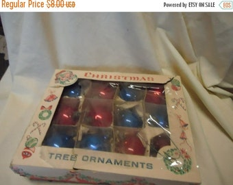 Valentines Sale Vintage Box of Christmas Tree Ornaments, collectable, usuable, holiday, 1 dozen