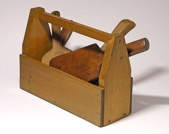 Vintage Wooden  Tool Box,  Utensil, Kitchen or Holiday Display - circa 1950's