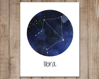 Libra Print Zodiac Constellation Watercolor Astrology Horoscope Digital Art Print