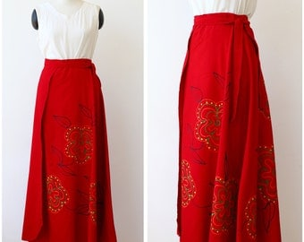 1990s vintage hand painted red skirt / boho skirt / maxi long red wrap skirt / floor length linen skirt