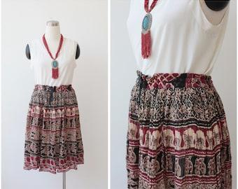 Boho India gauzy skirt, bohemian hippie festival skirt cotton gypsy skirt M L XL