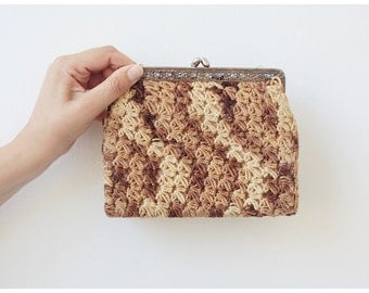 Free Shipping. Mid-century Evening Purse Vintage Purse Evening Clutch Crochet Woven Purse Change Purse Clutch bag